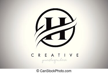 H Letter Logo Design with Circle Swoosh Border and Creative Icon Design.