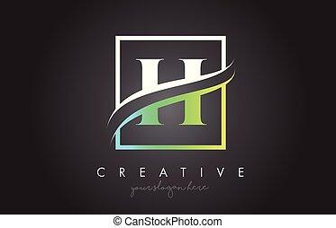 H Letter Logo Design with Square Swoosh Border and Creative Icon Design.