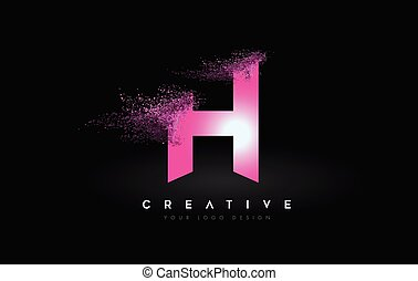 H Letter Logo with Dispersion Effect and Purple Pink Powder ...