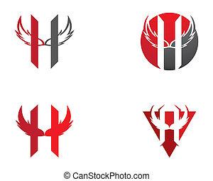 H letter wing logo vector icon illustration