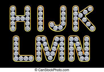 h, -, n, cartas, incrusted, con, diamonds.