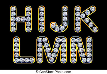 H - N letters incrusted with diamonds.
