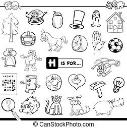 h, onderwijs, spel, kleurend boek