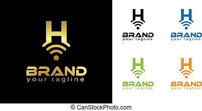 H online logo template, stock logo template.