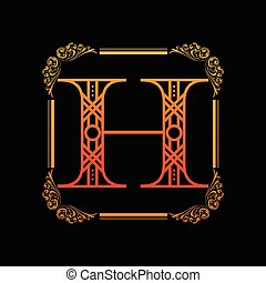 h, ornamento, letra