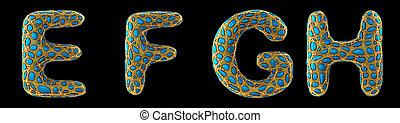 h, render, g, 3d, briller, réaliste, lettre, doré, ensemble, e, fait, f, metallic.