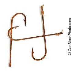 h-shaped, roestige , oud, visje, haken