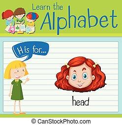 h, tête, lettre, flashcard