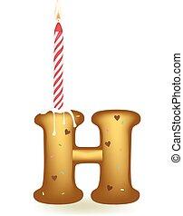 h, urodziny, litera, świeca