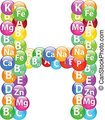 h, vitamina, lettera