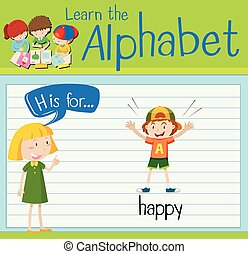 h, vrolijke , brief, flashcard