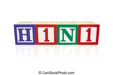 H1N1 Alphabet Blocks with reflection