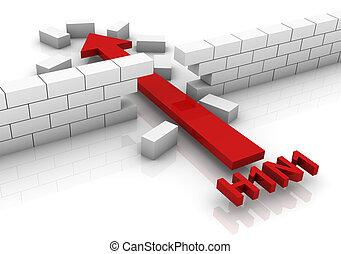 H1N1 Broken Barrier - Brick wall broken by H1N1 virus