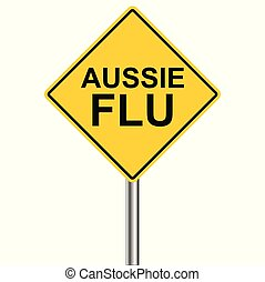 h1n1, coups, grippe, australien, -, saison, vecteur, avertissement, signe prudence, jaune, devant, triangle