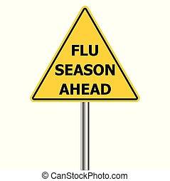 h1n1, coups, grippe, -, saison, vecteur, avertissement, signe prudence, jaune, devant, triangle