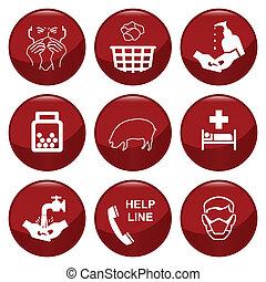 h1n1, gripe, cerdos, icono, colección