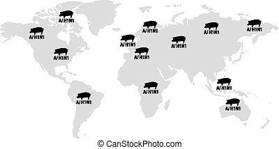 h1n1, gripe, mundial, ilustración, cerdos, advertencia, peligro