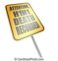 h1n1, mort, enregistré, panneaux signalisations