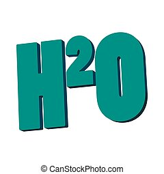 H20 water formula icon, cartoon style