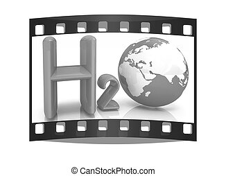 H2O. Formula of water. The film strip