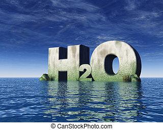 h2o - H2O rock at the ocean - 3d illustration