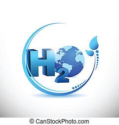 h2o illustration design over a white background