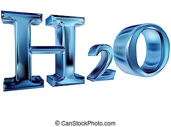 H2O. Letters isolated on white background. 10 EPS