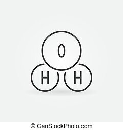 H2o outline icon. Vector water chemical formula line symbol