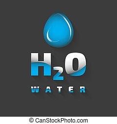 h2o, vektor, ikon
