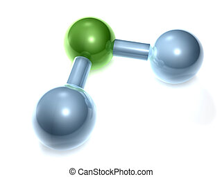 H2O - Water - 3D rendering of a H2O Molecule. H2O = Water O...