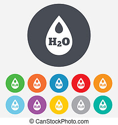 H2O Water drop sign icon. Tear symbol. Round colourful 11...