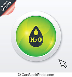 H2O Water drop sign icon. Tear symbol.
