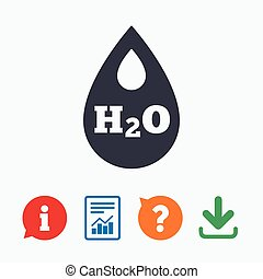 H2O Water drop sign icon. Tear symbol. Information think...