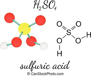 H2SO4 sulfuric acid 3d molecule isolated on white
