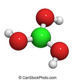 (h3bo3), zuur, chemisch, boric, molecule, structure.