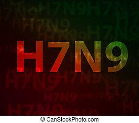 h7n9, avian, grippe, bokeh, fond