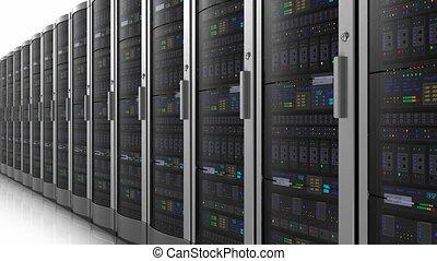 hałas, od, sieć, servery