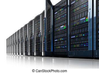 hałas, servery, dane, sieć, środek