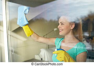hałasować, kobieta, okno, rękawiczki, czyszczenie,...