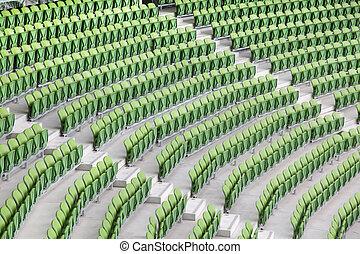 hałasy, bardzo, plastyk, fałdowy, cielna, siedzenia, zielony, opróżniać, stadium.