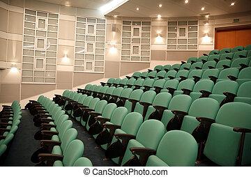 hałasy, conferences., krzesła, spectators., wewnętrzny, hala