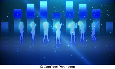 ha, danse, silhouettes, femmes