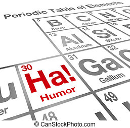 Ha the Element of Humor on a periodic table to illustrate the value of comedy and laughter in life