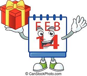 ha, lycklig, tecknad film, tecken, ansikte, boxas, 14, kalender, valentinbrev, gåva