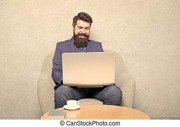 ha, radio, ämbete., business., redskapen, affärsman, arbete, laptop., användande, kommunikation, hipster, direkt, märken, dator, affär