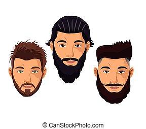 ha regolato capelli, ritratto, modello, uomo, barba
