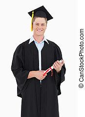 ha, suo, giusto, grado, sorridente, lui, uomo, laureato