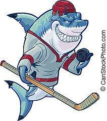 haai, betekenen, hockey, spotprent