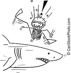 haai, duiker, groot, vector, stok, ontmoeten, spotprent, scuba, man