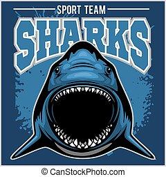 haai, illustration., mascot., sporten, vector, sterke